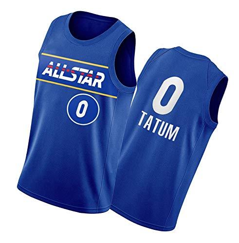 DFGHU Maillot de baloncesto para hombre, manga corta, secado rápido y transpirable Tatum Jersey #0 Azul, azul, L