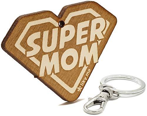 LIKY® Super Mom - Llavero Original de Madera Grabado Regalo para día de la Madre cumpleaños joyería Colgante Bolso Mochila