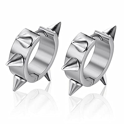 Negro Color Joyería Moda Acero Inoxidable Aro Huggie Stud Pendientes Spike Rivet Ear Piercings (Plata)