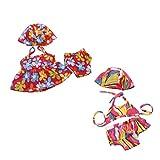 Sharplace 2 Sets Ropas de Muñecas Americanas Vestido Bañador Bikini con Sombrero Braga Floral en Miniatura