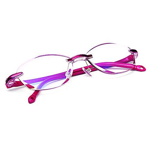 TERAISE Randlose Lesebrille Mode Diamant Cut Edge Design anti-blau Objektiv Brillenleser für Frauen(4.0x)