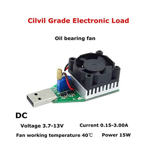 15W USB Lastwiderstand DC 3.7-13V einstellbare Konstantstrom Elektronik Last Entlader Batterie-Kapazität Test-Messinstrument mit Fan