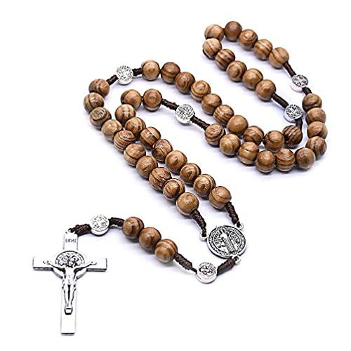 Collar de rosario de cuentas redondas hechas a mano para hombres colgante de Jesús con cruz católico religioso rosario católico cuentas redondas hechas a mano rosario católico cruz cuentas