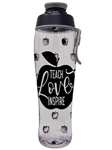 50 Strong BPA-free Water Bottle with Easy Carry Loop for Teachers, Teacher Apples, 30 Ounces