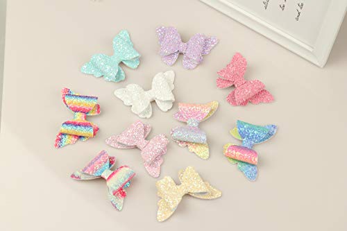 XIMA 10pcs Glitter Hair Bows Clips For Kids Girls Butterfly Hair Pin Accessoires Sparkly Bows Clips 9