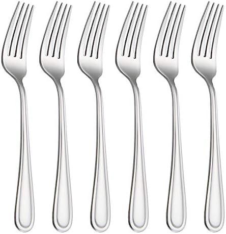 HISSF Dinner Forks Stainless Steel 18 0 of Table Forks 6 Pcs for Home Kitchen Restaurant Dishwasher product image