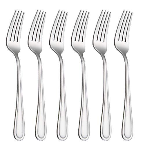 HISSF Dinner Forks Stainless Steel 18/0 of Salad Forks 6 Pcs for Home, Kitchen Restaurant, Dishwasher Safe, 8.0 Inches, Silver