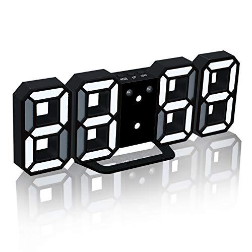 TOPYL 3D digitale wekker, elektronische LED digitale wekker, stille klok met snooze 3 helderheid, modern nachtlampje klokje bed bureau