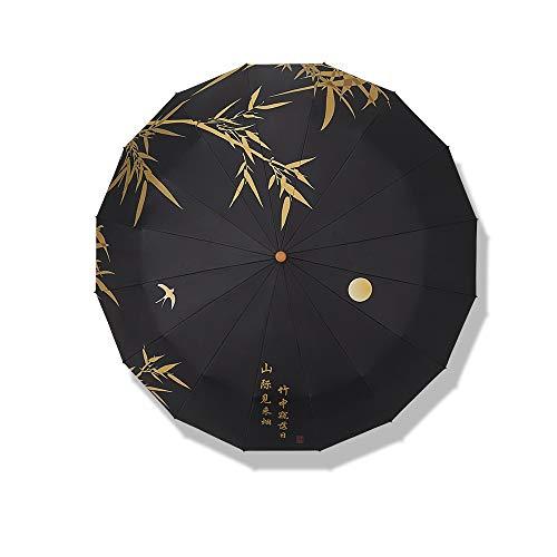 ZHI BEI Paraguas - Paraguas - Modelo Elegante Hoja de bambú Paraguas de Gran tamaño Paraguas Plegable se Puede Utilizar en 3 Colores con Sol y Lluvia for Elegir Paraguas portátil (Color : Black)
