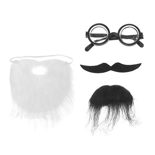 Amosfun Halloween fake beard mustaches and eyeglass unique chic funny fake...