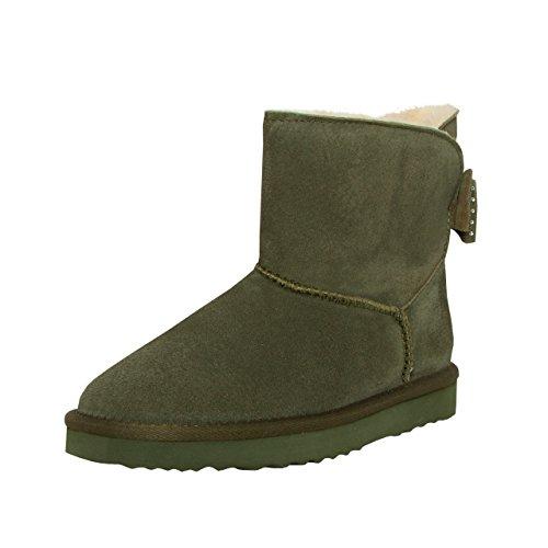 SKUTARI BRAND OF QUALITY GOODS SKUTARI Wildleder Damen Frauen Winter Boots | Warm Gefüttert | Schlupf-Stiefel mit Stabiler Sohle | Schleife Pailletten Glitzer Meliert Schuhe, Green, 41 EU