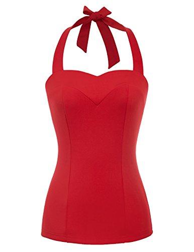 Damen Neckholder Neck Sweet ärmellos Vest Top Tank Shirt Bluse L rot BP610-2