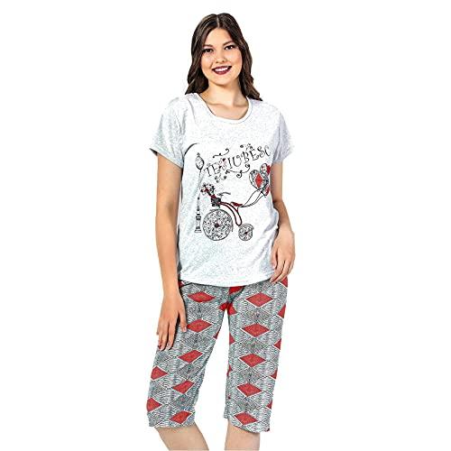 Sena Grana Pijama Mujer Pirata Pijama Dos Piezas Pijama Camiseta Manga Corta y pantalón Pirata Pijama algodón de Primavera y Verano.