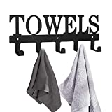MINCORD Towel Rack 5 Hooks Black Metal Wall Mount Rustproof and Waterproof Towel Holder for Bathroom Bedroom Kitchen Towels,Robes,Keys,Coats,Clothing, Outdoor Pool Beach Towel Hooks
