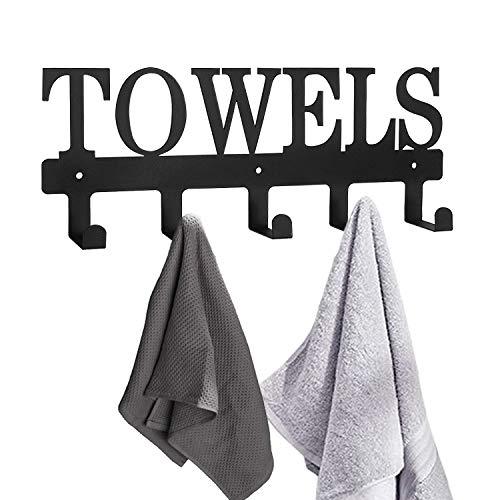 Towel Racks 5 Hooks Black Metal Wall Mount Rustproof and Waterproof Towel Holder for Bathroom Towels Robes Keys Bedroom Clothing Kitchen Storage Organizer Rack Outdoor Pool Towel Hooks