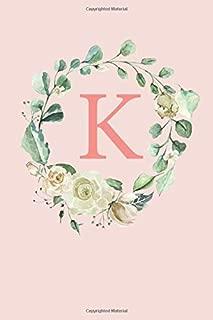 K: White Roses and Peonies Monogram Sketchbook  | 110 Sketchbook Pages (6 x 9) | Floral Watercolor Monogram Sketch Notebook | Personalized Initial Letter Journal | Monogramed Sketchbook