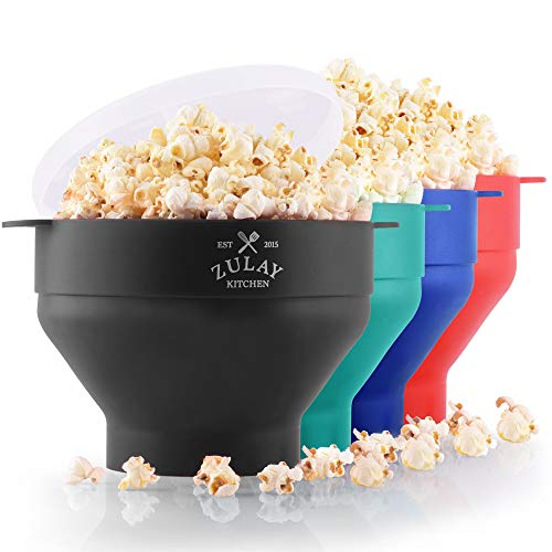 Zulay Kitchen Microwave Popcorn Popper Collapsible, BPA Free Silicone Popcorn Popper Microwave Collapsible Bowl, Quick & Easy Popcorn Popper Silicone Microwave (Black)