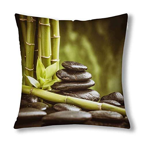 GOSMAO SPA Tema Natural Zen Piedras de basalto y decoración de bambú cojín Decorativo Funda de Almohada Funda de 18 x 18 Pulgadas, Protector de Funda de Almohada