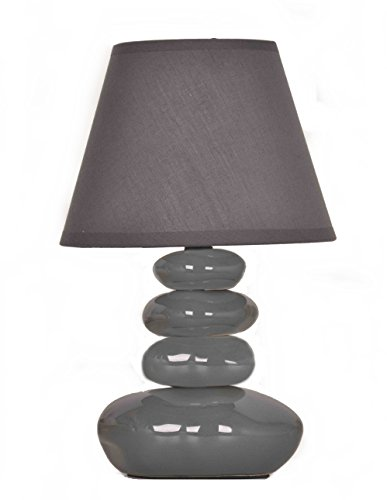 Lampe de table Galets Grise - Chevet Abat jour gris