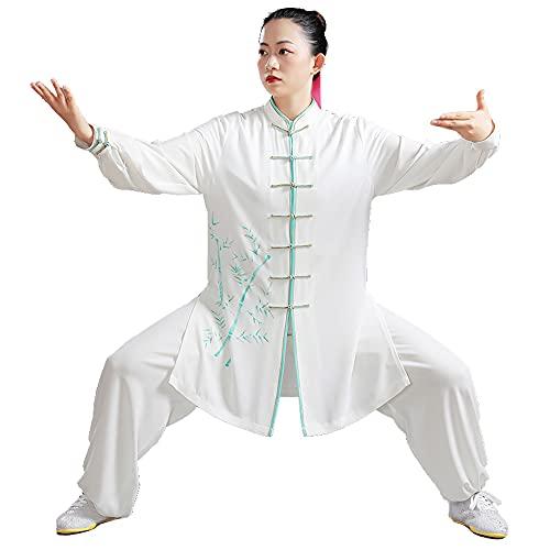 Tai Chi Kleidung Damen - Gedruckte Kampfsportbekleidung für Herren Chinesische Kung-FuUniform Baumwolle Langarm Frühling Sommer Übergröße,White-XXLarge