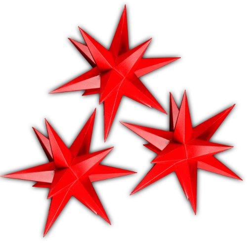 Sternschmiede 3 Weihnachtssterne aus Papier, beleuchtet (3 komplett rote Weihnachtssterne)