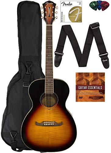 Fender FA-235E Concert Acoustic-Electric Guitar - Natural Bundle with Gig Bag, Strap, Strings, Picks, Fender Play Online Lessons, and Austin Bazaar Instructional DVD