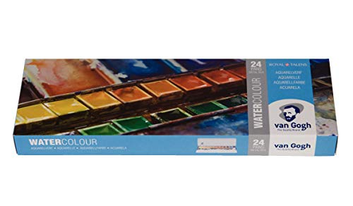 Van Gogh Watercolor Paint Set, Metal Tin, 24-Half Pan