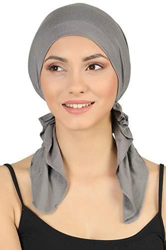 Deresina Vorgebunden Tücher der Baumwolle für Haarausfall, Krebs (Grau)