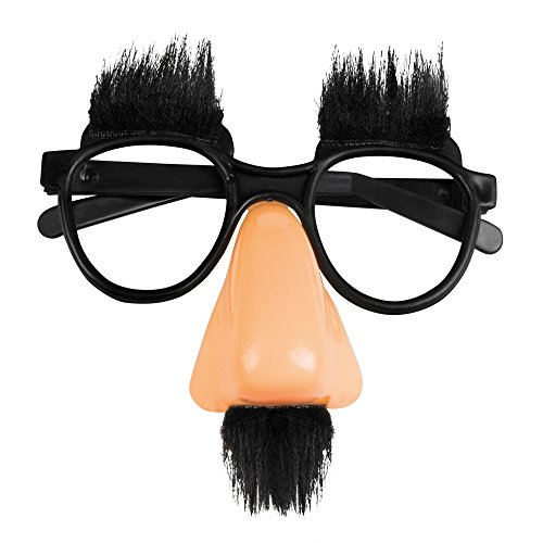 PARTY DISCOUNT Brille Slapstick mit Augenbrauen, Nase, Bart