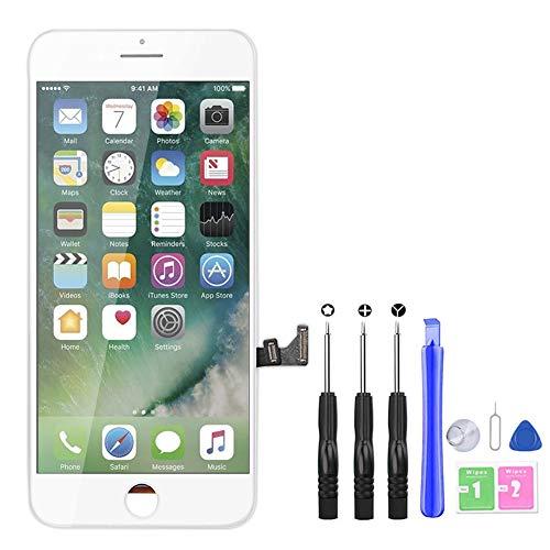 YoSuDa Kompatibel mit iPhone 7 Plus Display ersatzbildschirm(5,5''), Ersatz Für iPhone 7 Plus LCD Touchscreen Display Vormontiert Reparaturset mit Werkzeuge (Weiß)