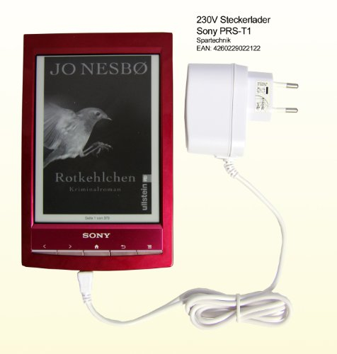 Spartechnik Netzteil weiß für Sony PRS-T1 eBook Reader Touch Digital Book. 230V Travelcharger für Sony E-Book PRS T1 PRS-T2 PRS T2 - Ladegerät für die Steckdose. 110V - 230V -weiss