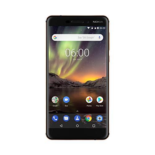 Nokia 6.1 Smartphone (13,97 cm (5,5 Zoll) IPS Full-HD Bildschirm, Dual Sim, 32GB ROM, 3GB RAM, 16MP Rückkamera, 8MP Frontkamera, Android 8 Oreo, inkl. Bildschirmschutzfolie) schwarz/ kupfer, version 2018