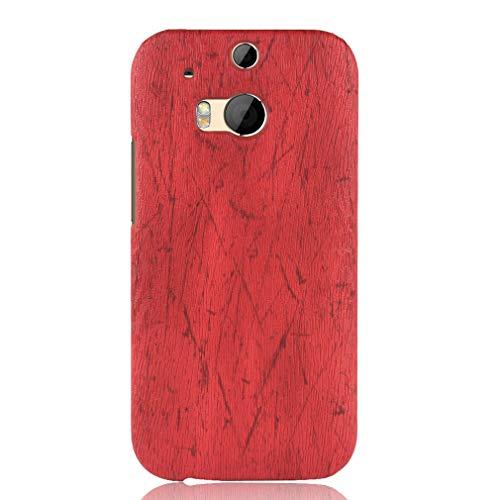 LMFULM® Hülle für HTC One M8 / One M8S (5,5 Zoll) Holz Außerhalb Harter PC Stoßfänger Silikon Hülle Dünner Handyhülle Dünne Rückseitige Abdeckung für HTC One M8 / One M8S Rot