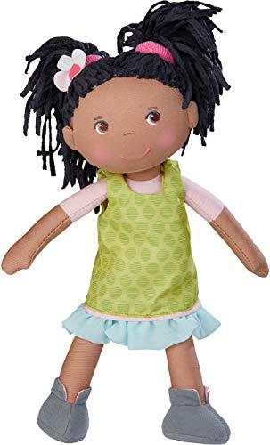 HABA 304576 - Puppe Cari, 30 cm, Weich- und Stoffpuppe für Kinder ab 18 Monaten, mit ausziehbarer Kleidung und langen Haaren