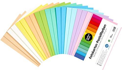 perfect ideaz 100 Blatt DIN-A5 Pastell Foto-Karton bunt, Bastel-Papier, Bogen durchgefärbt, 10 verschiedene Light-Farben, 300g/m², Ton-Zeichen-Pappe zum Basteln, buntes Blätter-Set farbig, DIY-Bedarf