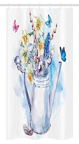 36x72 inch, douchegordijn, zomerboeket met viooltjes-wilgenvlinders in oud modieus gieter, stof badkamerset met 12 haken