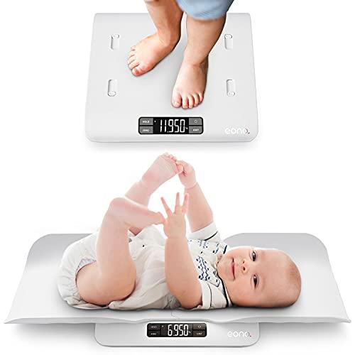 """Amazon Brand - Eono Báscula Para Bebés 2 en 1 Con Bandeja Cómoda y Segura y Función """"HOLD"""" Para Congelar El Peso En La Pantalla, Ideal Para Recién Nacidos, Niños Pequeños y Mascotas,30 kg/5g"""