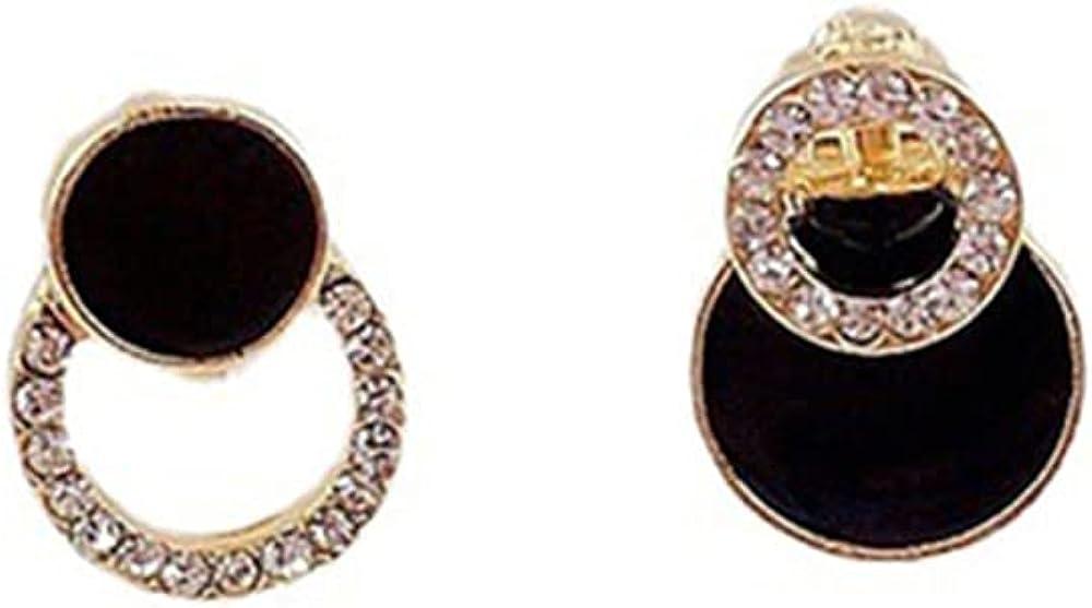 GRACE JUN Personality Black Geometric Clip on Earrings Women's Rhinestones Enamel Cuff Earrings Jewelry Gift