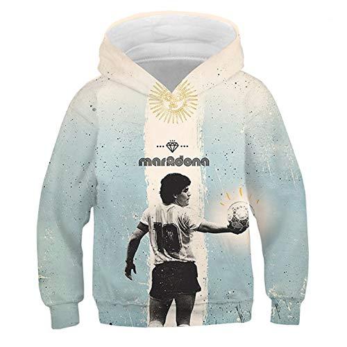 QLGRXWL Sudadera Maradona,Sudadera Maradona De Leyenda del Fútbol Conmemorativa con Estampado De Moda 3D,Sudadera Informal Al Aire Libre,Unisex,150