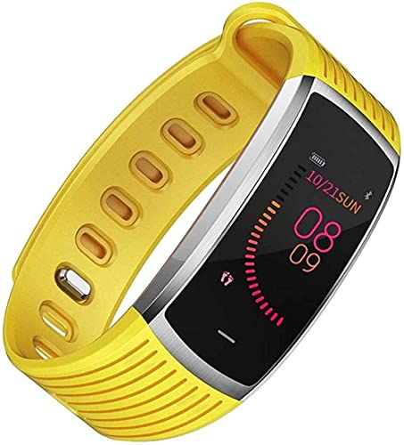 Reloj inteligente con monitor de ritmo cardíaco, monitor de actividad física con contador de pasos, monitor de sueño, regalo para mujeres, hombres y ancianos, amarillo