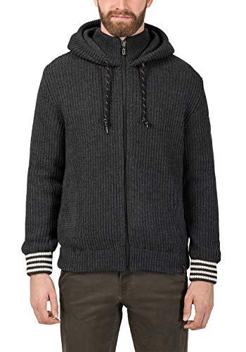 Timezone Herren College Hoodie Jacket Strickjacke, Schwarz (Pirate Black Melange 9129), Large (Herstellergröße:L)
