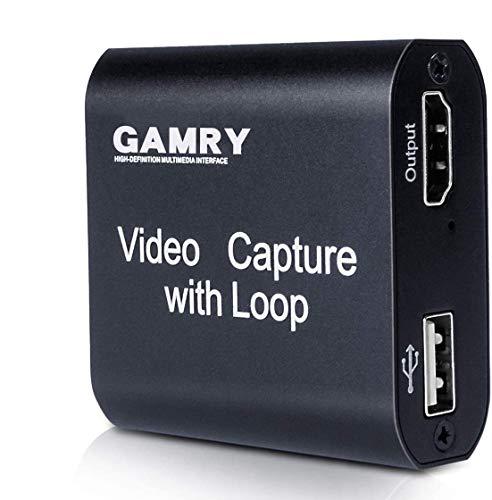 Scheda di Acquisizione Video HDMI con Uscita Loop, 4K HD 1080p USB 2.0 per Streaming dal Vivo, Registrazione Video per Giochi, Streaming, Videoconferenza, Trasmissione dal vivo