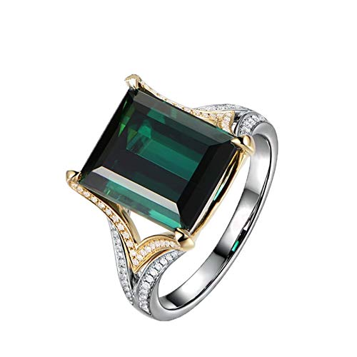 Ubestlove Mens 18 Carat Gold Ring Eternity Rings For Womens Fancy Rectangular Natural Green Tourmaline 6.15Ct Ring Ladies Gifts S 1/2