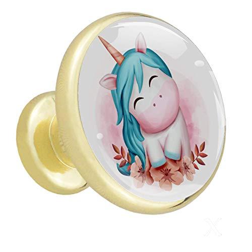 Möbelknopf Einhorn Lächeln süß Schubladen knöpfe Kristall für Schränke,Kommode und Schublade-Dekorative Ziehgriffe Metall 3.2x3x1.6cm