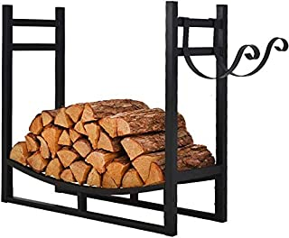 PATIO WATCHER 3-Foot Firewood Rack Log Rack Indoor Outdoor Fire Wood Storage Log Holder with Kindling Holder, Heavy Duty Steel Black