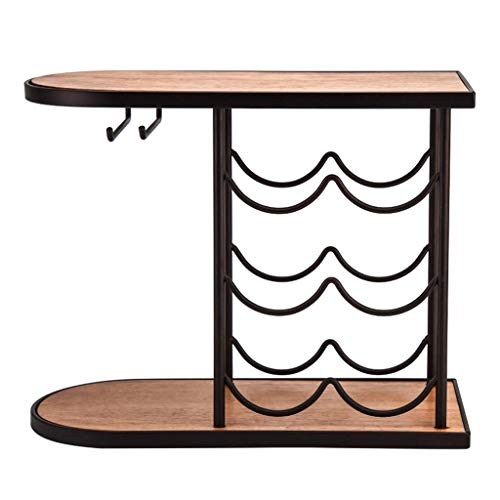 Rack Semplice Multistrato Vino Ferro di Modo Solido Telaio in Legno Antiscivolo in Gomma Pad Non danneggia i Desktop (Color : Black, Size : 42 * 18.6 * 32cm)