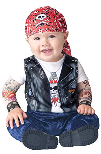 InCharacter Born to be Wild Infant/Toddler Costume, Small (6-12) Black/White