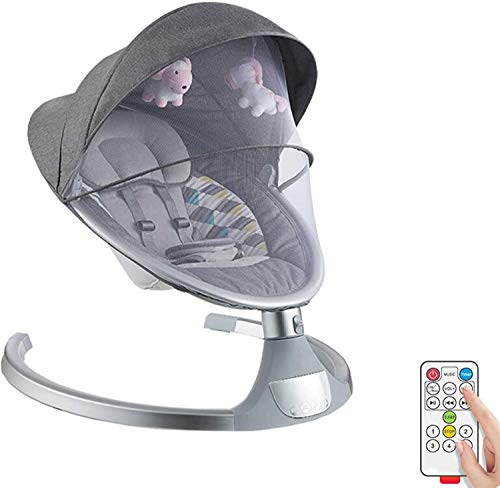 Electric Baby Rockers and Bouncers with Remote Control,Comfort Swing Chair for Newborn Infant Baby with Soothing Music and Canopy Toys, Automatic Cradle Bed,Gray
