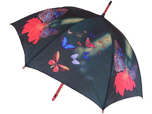 Regenschirm Schmetterlinge, Holzgriff, Automatikschirm, Stockschirm