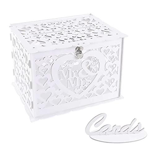 Benjia Hochzeit Geschenkkartenbox Geschenkkarten Box, Vintage groß Holz Kartenbox Karten Geld Box Briefbox mit Schloss Schlitz für Hochzeit Geburtstag danke (Weiß)